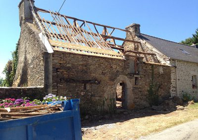 Removing process of the old timber frame
