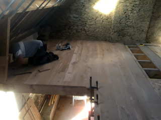 hardwood flooring in the attic