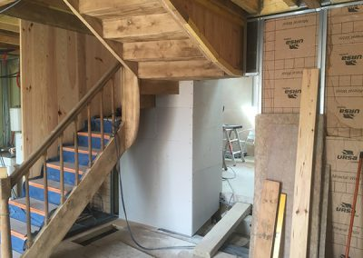 Stud walling and insulation work