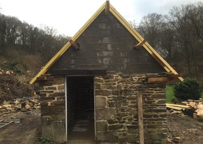 Masonry work on the outbuilding gable