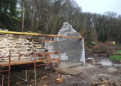Construction of the outbuilding extension in progress
