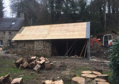 Roofing work on the outbuilding